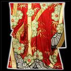 [和楽屋] ◆金駒刺繍 金彩加工 絞り入り 地紋 赤色系 振袖◆