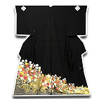 [和楽屋] ◆手縫い仕立付き! 京都一流染匠 「久保耕」 黒留袖◆