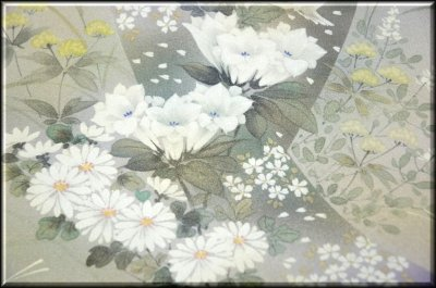 画像2: (訳ありアウトレット品)■フルオーダー手縫い仕立て付き 手描き 銀彩金彩加工 付下げ■