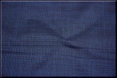 画像1: ■男物 本場奄美大島紬 亀甲柄 紺色 「窪コマ」謹製 着物羽織 疋物 アンサンブル■