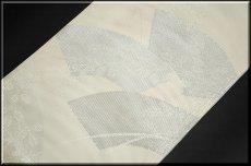 画像3: (訳ありアウトレット品)■「扇面に銀糸」 正絹 夏物 絽 袋帯■ (3)