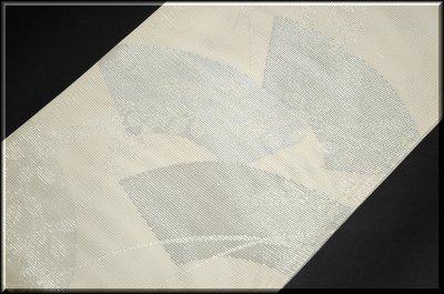 画像2: (訳ありアウトレット品)■「扇面に銀糸」 正絹 夏物 絽 袋帯■