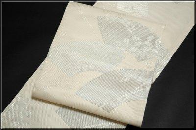 画像1: (訳ありアウトレット品)■「扇面に銀糸」 正絹 夏物 絽 袋帯■