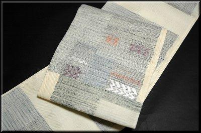 画像1: ■「真綿紬」 田中織物謹製 正絹 夏物 絽 袋帯■