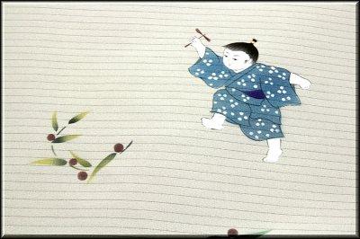 画像2: ■「竹トンボに男の子」 可愛い 夏物 絽ちりめん 落款入り 名古屋帯■