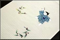 画像2: ■「竹トンボに男の子」 可愛い 夏物 絽ちりめん 落款入り 名古屋帯■ (2)