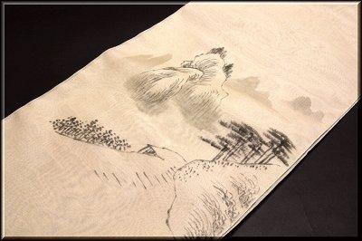 画像1: ■「水墨画風 素朴な風景図」 夏物 正絹 紗 九寸 太鼓柄 名古屋帯■