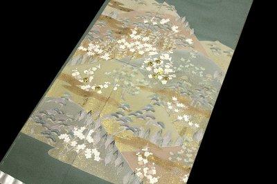 画像2: ■手縫いお仕立て付き 松竹梅 金駒刺繍入り 浜ちりめん 色留袖■