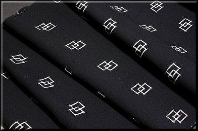 画像2: ■「遊彩夏絣」 伝統 手織工芸絣 黒色 夏物 正絹 紬■