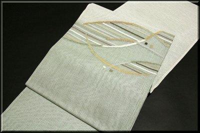 画像1: ■モダンでお洒落な 素朴な風合い 太鼓柄 正絹 夏物 紗 袋帯■