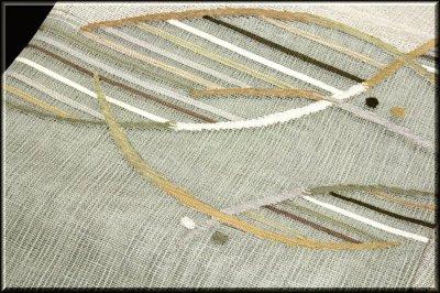 画像2: ■モダンでお洒落な 素朴な風合い 太鼓柄 正絹 夏物 紗 袋帯■