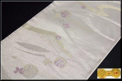 画像2: ■「田中義織物」謹製 可愛らしいフクロウ柄 グレー色 銀糸 正絹 夏物 絽 袋帯■