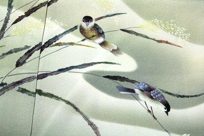 画像1: ■老舗「大塚謹製」 手描き 鳥柄 作家物 落款 正絹 訪問着■