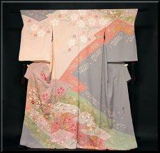 画像1: ■「京友禅 松井青々」作 たたき染め 染め分けボカシ 金駒刺繍 手刺繍 絶品 最高級 訪問着■ (1)