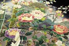 画像5: ■手縫い仕立て付き 「最高級浜ちりめん-四季の花」 松竹梅 作家物 落款入り 黒留袖■ (5)