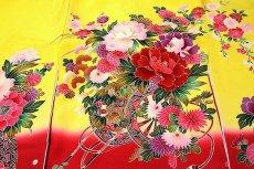 画像3: ■【最高級】「染め分け-金駒刺繍」 花柄 女児 七五三 お宮参り 正絹 祝着物■ (3)