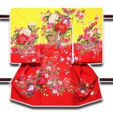 画像1: ■【最高級】「染め分け-金駒刺繍」 花柄 女児 七五三 お宮参り 正絹 祝着物■ (1)