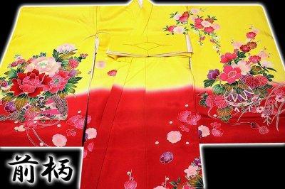 画像2: ■【最高級】「染め分け-金駒刺繍」 花柄 女児 七五三 お宮参り 正絹 祝着物■