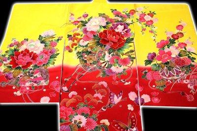 画像1: ■【最高級】「染め分け-金駒刺繍」 花柄 女児 七五三 お宮参り 正絹 祝着物■