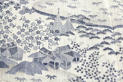 画像2: ■「本場小千谷紬織物-古志乃」 大新織物 茶屋辻之図 夏物 訪問着■