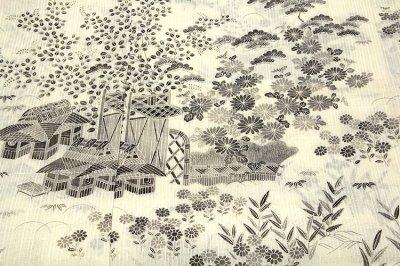 画像1: ■「本場小千谷紬織物-古志乃」 大新織物 茶屋辻之図 夏物 訪問着■