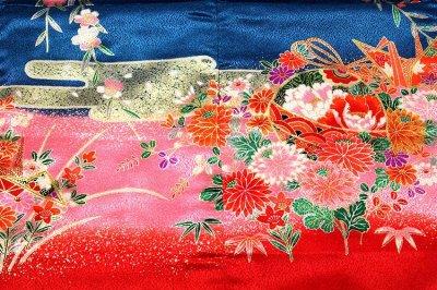画像3: ■「日本製」 染め分けボカシ 豪華な金彩加工 花柄 女児三才 三ッ身 七五三 着物■