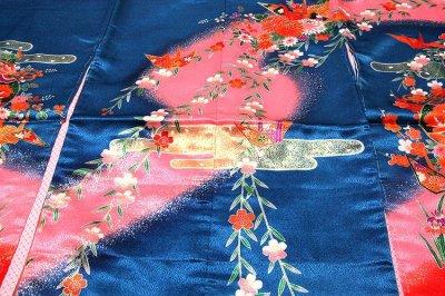 画像2: ■「日本製」 染め分けボカシ 豪華な金彩加工 花柄 女児三才 三ッ身 七五三 着物■