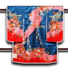 画像1: ■「日本製」 染め分けボカシ 豪華な金彩加工 花柄 女児三才 三ッ身 七五三 着物■ (1)