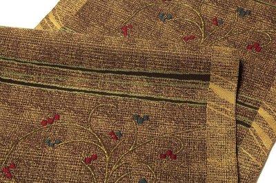 画像3: ■「全通 泥染」 【伝統工芸士 永野和年-作】 博多 あわせ帯 緑印 正絹 8寸 名古屋帯■