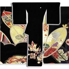 画像2: (訳ありアウトレット品)■貝桶に貝合わせ 松竹梅 手描き 金駒刺繍入り 浜ちりめん 正絹 黒留袖■ (2)