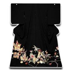 画像1: (訳ありアウトレット品)■貝桶に貝合わせ 松竹梅 手描き 金駒刺繍入り 浜ちりめん 正絹 黒留袖■ (1)