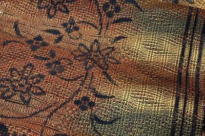 画像3: ■「全通 泥染」 【伝統工芸士 黒木政幸-作】 博多 あわせ帯 緑印 正絹 8寸 名古屋帯■