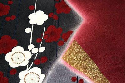画像3: (訳ありアウトレット品)■「仕立て上がり-正絹」 丹後ちりめん生地使用 梅にサクラ柄 ボカシ 振袖■
