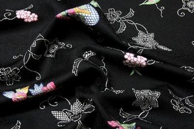 画像3: ■「千八唐織」 日本の絹 丹後ちりめん 地紋 黒地 正絹 小紋■