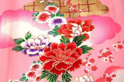 画像3: ■「染め分けボカシ」 金彩加工 飛び鶴 花模様 女児 七五三 お宮参り 正絹 祝着物■