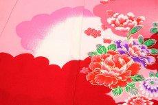 画像3: ■「染め分けボカシ」 金彩加工 飛び鶴 花模様 女児 七五三 お宮参り 正絹 祝着物■ (3)