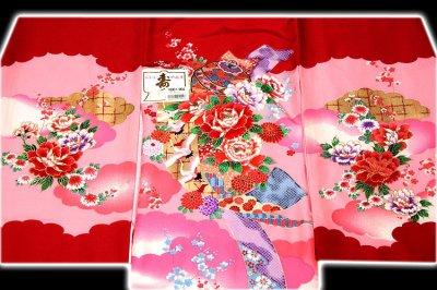 画像1: ■「染め分けボカシ」 金彩加工 飛び鶴 花模様 女児 七五三 お宮参り 正絹 祝着物■