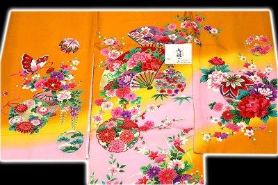 画像1: ■「染め分けボカシ」 扇面に花柄 女児 七五三 お宮参り 正絹 祝着物■