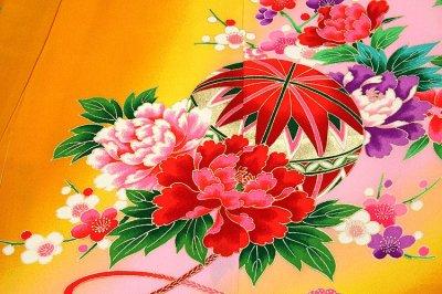 画像3: ■「染め分けボカシ」 扇面に花柄 女児 七五三 お宮参り 正絹 祝着物■