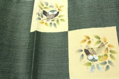 画像3: ■「仕立て上がり-正絹」 太鼓柄 柿渋染 手織紬 袋帯■