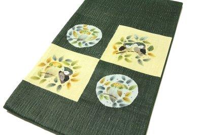 画像1: ■「仕立て上がり-正絹」 太鼓柄 柿渋染 手織紬 袋帯■