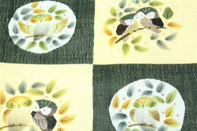 画像2: ■「仕立て上がり-正絹」 太鼓柄 柿渋染 手織紬 袋帯■