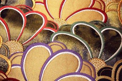 画像3: ■「京都西陣織-老舗-洛北苑謹製」 色梅青海文 正絹 袋帯■