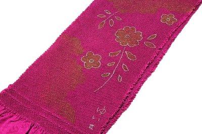 画像1: ■花柄 金彩加工 振袖に最適 正絹 総絞り 帯揚げ 飾りつき 手組紐 丸組 帯締め セット■