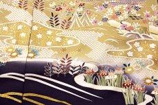 画像6: ■「本染め」 日本の絹 丹後ちりめん 風景図 金駒刺繍 金彩加工 ボカシ 最高級 正絹 訪問着■ (6)