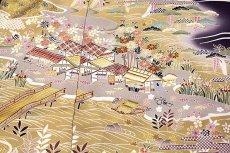 画像5: ■「本染め」 日本の絹 丹後ちりめん 風景図 金駒刺繍 金彩加工 ボカシ 最高級 正絹 訪問着■ (5)