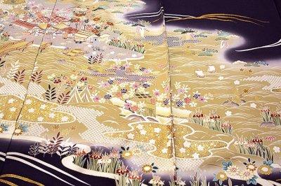 画像1: ■「本染め」 日本の絹 丹後ちりめん 風景図 金駒刺繍 金彩加工 ボカシ 最高級 正絹 訪問着■