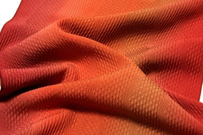画像3: ■「京草木染」 日本の絹 高級丹後ちりめん ボカシ染め 立体的なフクレ織り 正絹 ロングコート 羽尺 羽織 和装コート■