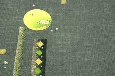 画像3: ■研彩織 紋金波 特撰紋ちりめん 柳煤竹色 正絹 付下げ■ (3)