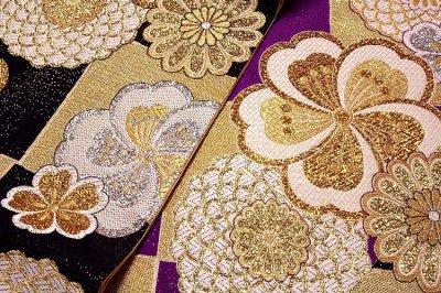画像3: ■京都西陣織「大光織物謹製」 煌びやかで豪華な 黒色 金色 紫色 振袖に最適 変わり結び 長尺 正絹 袋帯■